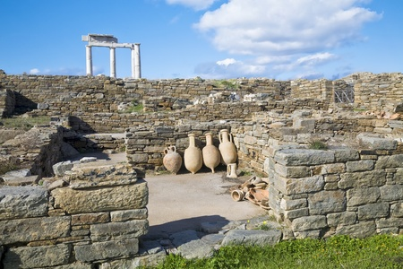 Ancient pottery wine amphora found in the ruins on the island of Delos, Greece. photo