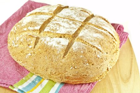 A round loaf of homemade Irish soda bread. Stock Photo