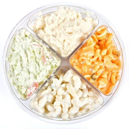 potato salad: A plastic store bought divided container with 4 different prepeared salads, macaroni salad, coleslaw, tomato pasta salad and potato salad