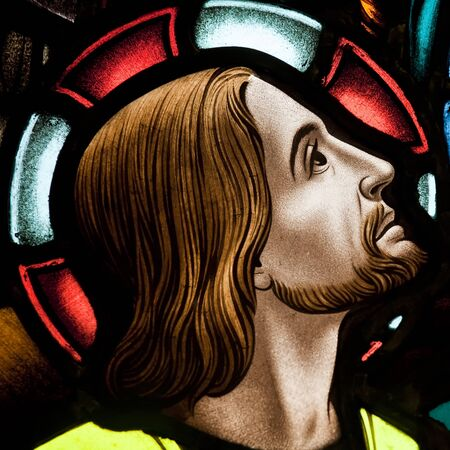 Detail of stained glass window depicting Jesus