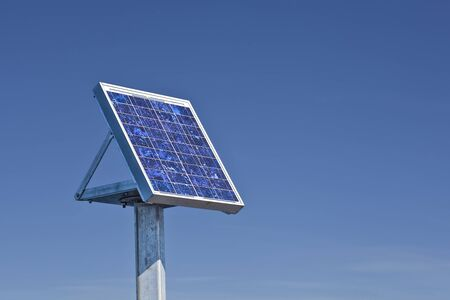 Small solar panel on the side of a bridge. Stock Photo - 14846129
