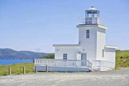 nfld: Belle Island lighthouse is an operational lighthouse and is found on the picturesque north east end of Belle Island, Newfoundland, Canada  Stock Photo