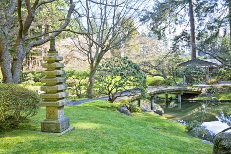 zen garden: Beautiful Japanese garden in early spring.