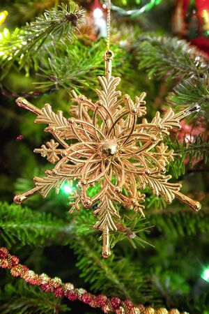 balsam: Shiny golden filigree snowflake ornament hanging in the Christmas tree.