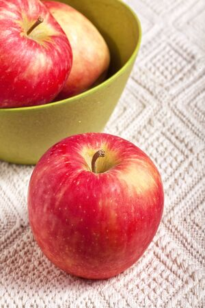 hybridization: Fresh ripe Honeycrisp apples. A modern project of apple hybridization.