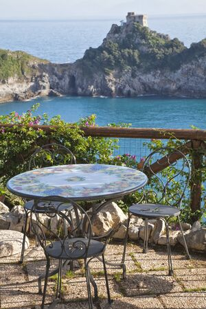 amalfi: Table and chairs overlooking the Mediterranean on the Amalfi coast.