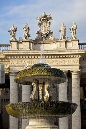 st  peter's square: Berninis fountain in St. Peters Square at Vatican City, Rome
