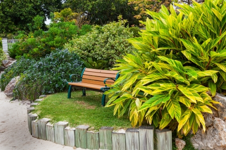 formal garden: Japanese garden at the Bermuda Botanical Gardens in Hamilton, Bermuda. Known as the Zen Garden. Stock Photo