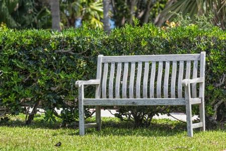 garden bench: Rustic wooden park or garden bench. Stock Photo