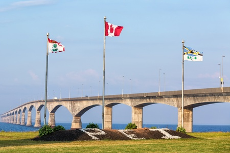 confederation: The Prince Edward Island side of the Confederation Bridge  Stock Photo
