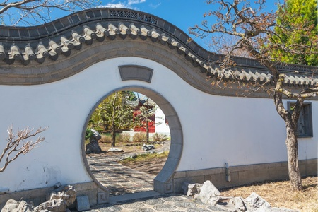 moon gate: The moon gate in the Chinese garden at the Montreal Botanical Gardens