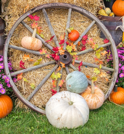 Autumn farm display of agricultural produce and an old wagon wheel. photo