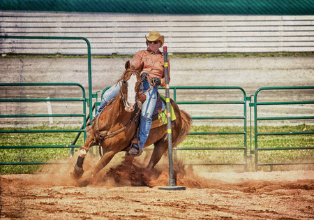 arena rodeo: Western horse and rider competing in pole bending and barrel racing competition with texture.