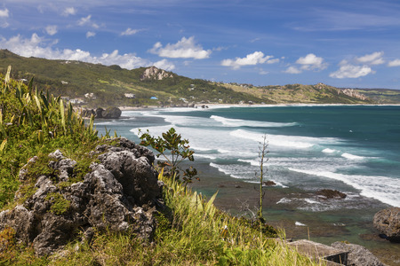 windward: View of the eastern coast of Barbados showing the beach at Bathsheba. Focus on foreground. Stock Photo