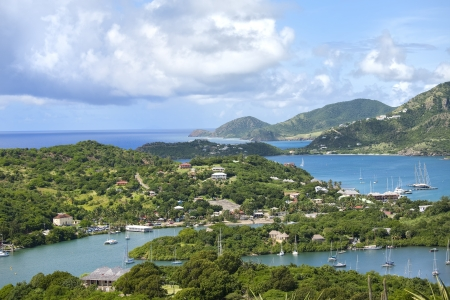 antigua: A view from Shirley Heights of English Harbour and the coast of the island of Antigua in the Caribbean. Stock Photo