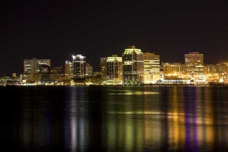 night time: Night time view of the Halifax, Nova Scotia waterfront as viewed from the Dartmouth side. Stock Photo