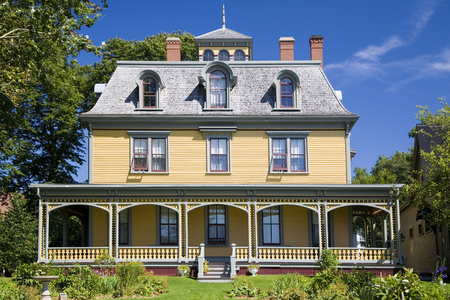 merchant: Built in 1877, this beautiful Victorian home, Beaconsfield Historic House is  in Charlottetown, Prince Edward Island, Canada. Built by shipbuilder and merchant James Peake. Editorial