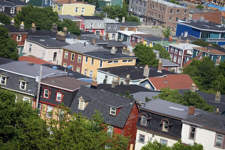 mansard: Historic local architecture in the old part of the city of St. Johns, Newfoundland. Stock Photo