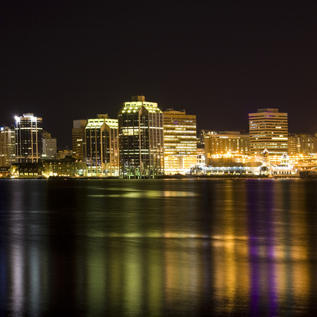 Night time view of the Halifax, Nova Scotia waterfront as viewed from the Dartmouth side. photo