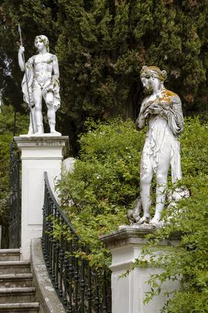 kerkyra: Sculptured figure on the grounds of the Achillion Palace on the island of Corfu.
