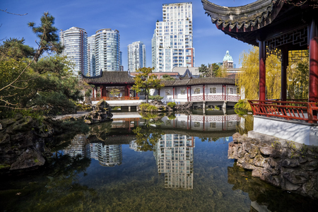 chinatown:  Chinese Garden in Vancouver, British Columbia, Canada Stock Photo