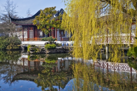 chinese pagoda: Chinese Garden in Vancouver, British Columbia, Canada Stock Photo