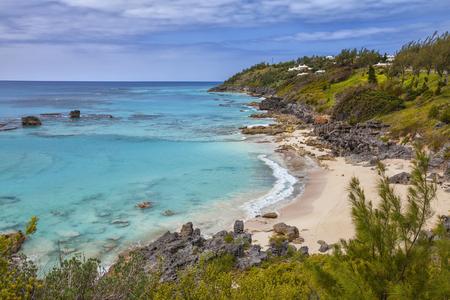 Empty Bermuda beach at Church Bay.