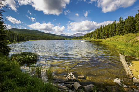 alberta: Tranquil lake in the pristine Alberta wilderness. Stock Photo