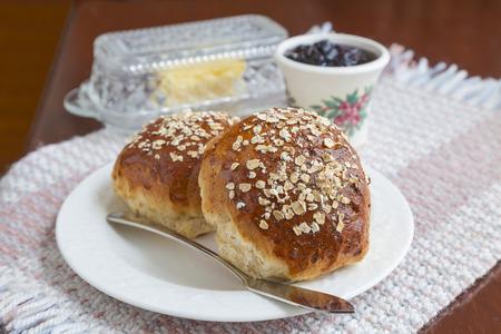 Freshly baked oatmeal molasses bread. photo