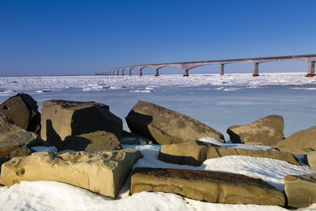 confederation: A winter view of the Confederation Bridge that links Prince Edward Island, Canada with mainland New Brunswick. (as viewed from the PEI side)