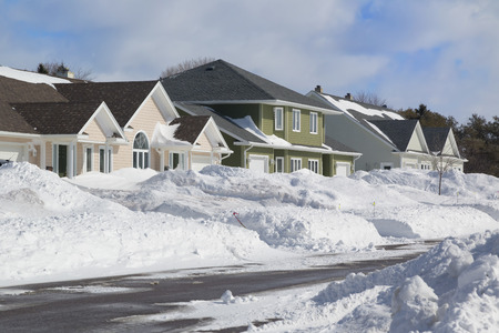 residential neighborhood: Wintertime view of a residential neighborhood.