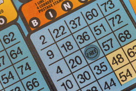 Detail of a bingo lottery scratch ticket.