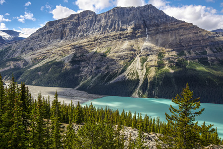 caldron: Shadows from clouds moving across Peyto Lake and glacier, Banff National Park, Alberta, Canada