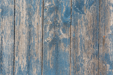 distressed wood: Old wooden barn board with distressed blue paint. Stock Photo