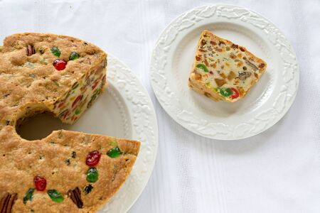 fruitcake: A slice of homemade fruitcake.