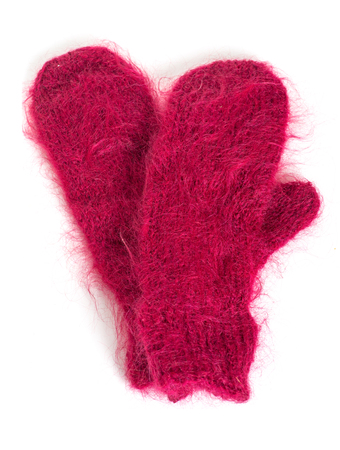 A pair of soft mohair mittens