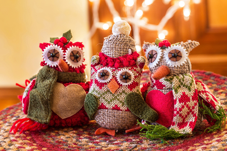 Christmas ornaments in the shapes of owls.