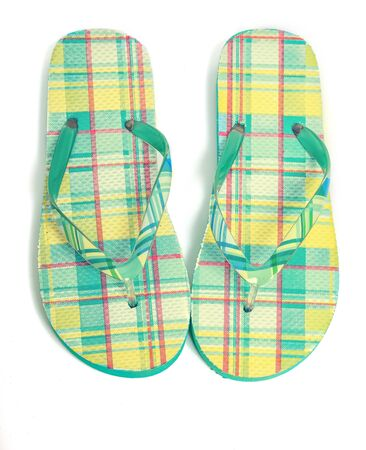 Flip flops with a vintage effect on white. Stock Photo