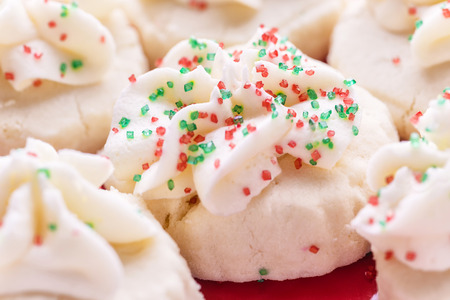 Shortbread cookies decorated for Christmas.