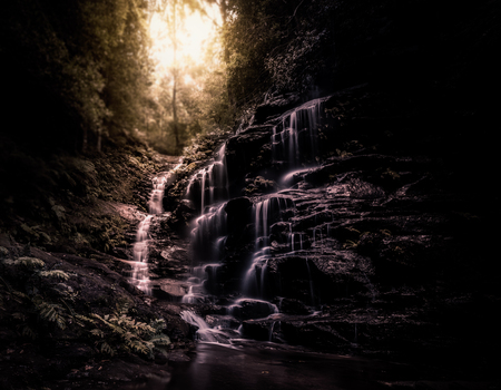 Waterfalls cascading in the morning light, Lower Empress Falls, Blue Mountains New South Wales, Fine Art Phorography