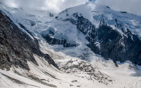 Beautiful view from the Refuge de Tete Rousse. Mont Blanc (French) or Monte Bianco (Italian), France and Italy.
