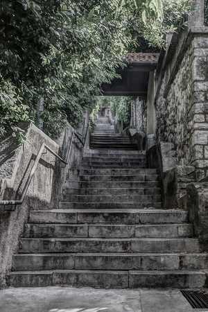 Walkway, steep stairway going up to the Trsat Castle. Rijeka (Fiume), Croatia. HDR technique. Reklamní fotografie