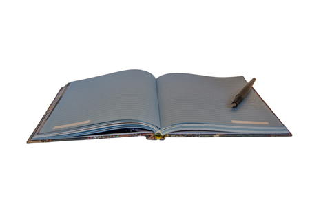 Side view of one open notebook with blue pages and a fountain pen on it. Isolated on white background.
