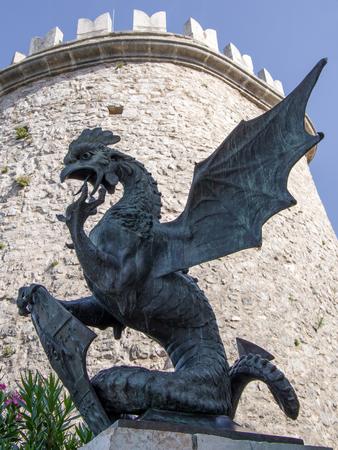 Old iron dragon statue in the old Trsat castle. Rijeka, Croatia. Redakční