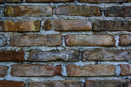Close up view of old red brick wall. Use for texture background.