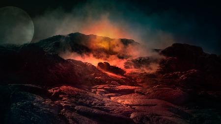 ファンタジーは、火、氷の上に煙と活発な火山のシーンを閉じます。アイスランド、ヨーロッパ。