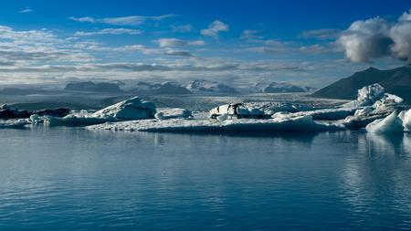 Beautiful cold landscape picture of icelandic glacier bay.Jokulsarlon Glacier lagoon,Iceland in summer, Europe.