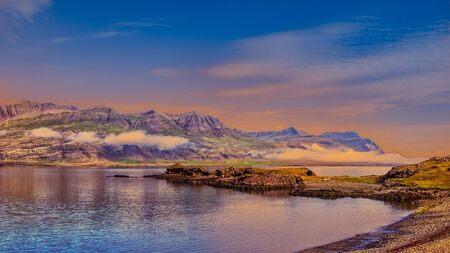 Panoramic view of beautiful colorful landscape on Iceland coast.South Iceland in summer, Europe.