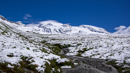 Panoramic view of a small river with beautiful mountain landscape in the background.Summer in the Pennine Alps, Valle dAosta, Italy, Europe. Reklamní fotografie