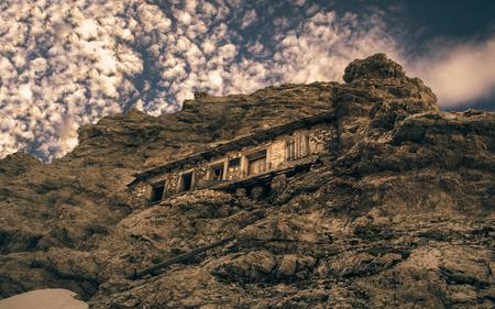 Closeup bottom view of a italian military shelter in Dolomites mountains. Monte Cristallo, Dolomites, Italy.